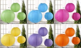 "Set of 3 Iron Frame Hanging Paper Lanterns - Six Colors - Sizes are 10"" 12"" 16"""