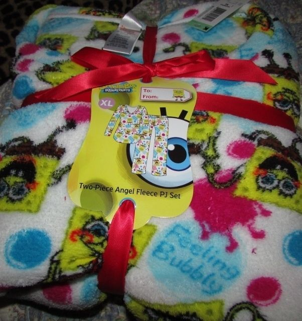 Primary image for Spongebob Squarepants Feeling Bubbly Ladies Pajama Set SZ XL Gift Ribbon NEW