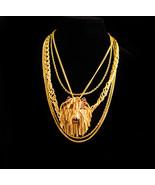 Vintage Dog necklace - shaggy dog rhinestone brooch - golden tassels - u... - $165.00