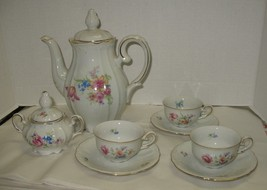 10 Piece Germany US Zone Floral Tea Coffee Pot Covered Sugar 3 Cups & Sa... - $28.71