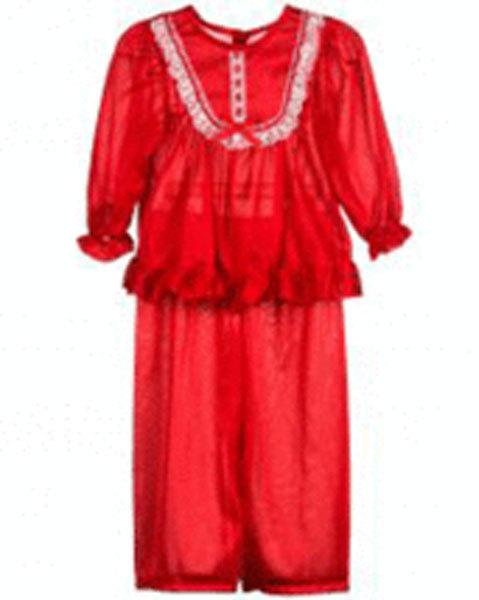Girls Frilly Red Pajama Set Laura Dare