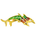 Double Diving Dolphins with Red and Green Resin and Clear Crystal Animal... - $6.85