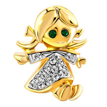 Golden Baby Doll with Clear Rhinestone Crystal and Green Crystal Eyes Br... - $6.60