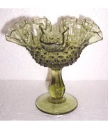 Rare Fenton Green Hobnail Ruffled Glass Art Dis... - $186.78