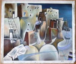 Rare Myung Mario Jung Southwest Pueblo painting Korean artist - $675.34