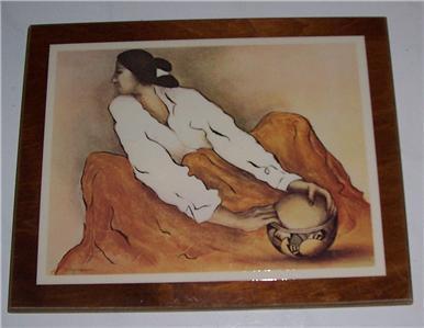 "Rare R.C.GORMAN ""Pottery  Keeper"" Laminated Print on Wood Art Tile/Display"
