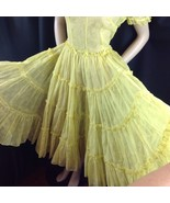 Vtg Yellow Rockabilly Square Dance Sheer Tiered Dress Circle Skirt Metal... - $94.05