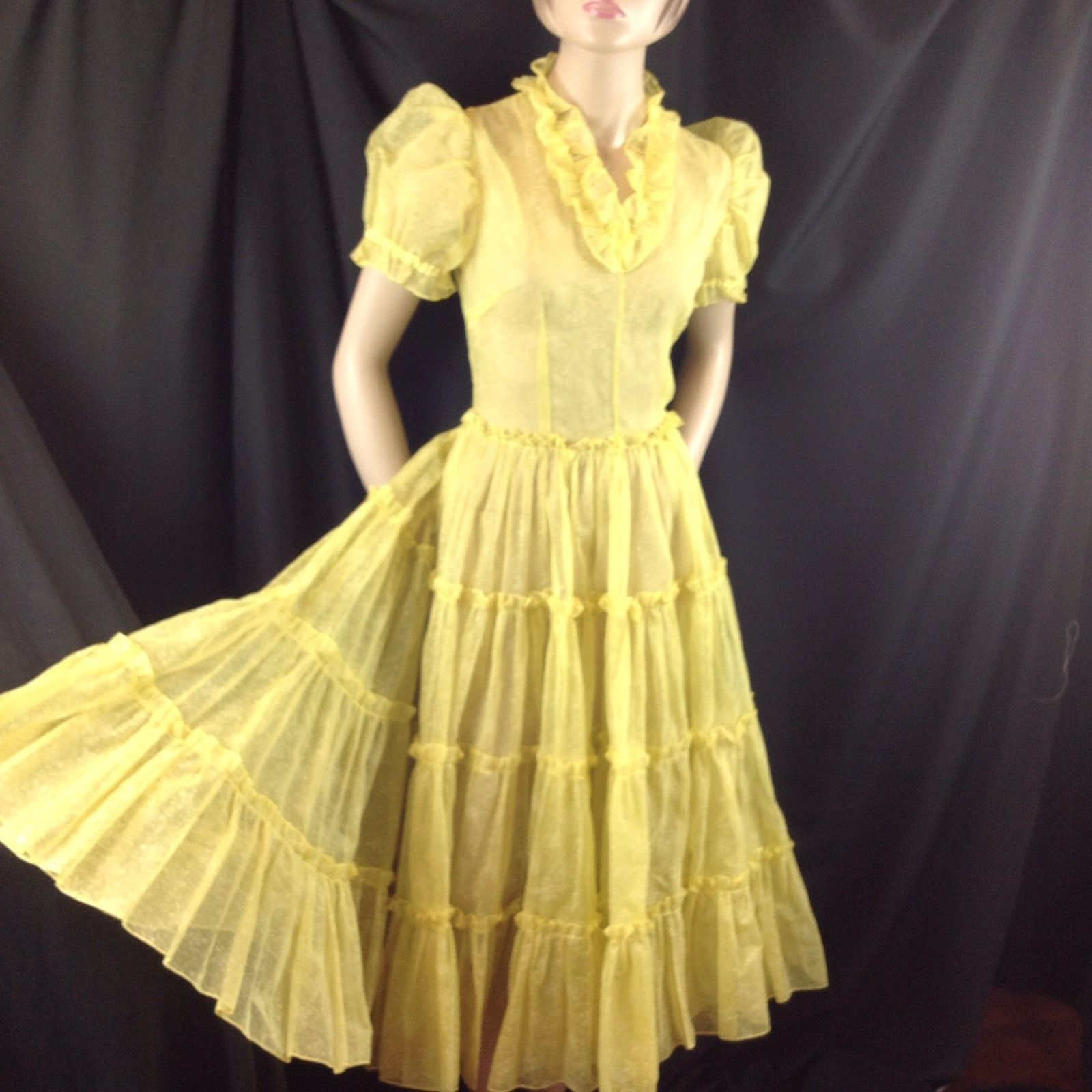 Vtg Yellow Rockabilly Square Dance Sheer Tiered Dress Circle Skirt Metal Zip S