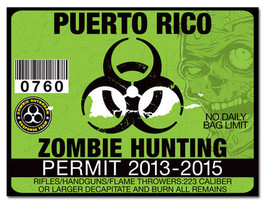 Zombie Hunting Outbreak Permit Funny License De... - $3.96