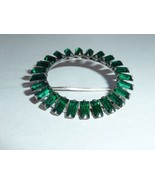 VINTAGE SIGNED LAMPL Green RHINESTONE Brooch STERLING SILVER Bright Clea... - $93.00
