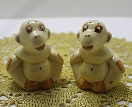 Vintage KITSCH Yellow Monkey Salt & Pepper Shakers // Novelty S&P Shaker... - $14.50