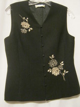 CASUAL CORNER Womens ButtonUp Vest,Black+Silver Embroidery,L Large,Caree... - $16.67