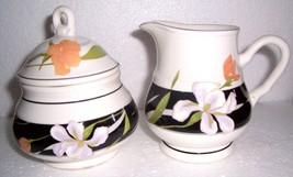 SANGOSTONE MEMORIES SUGAR BOWL WITH LID & CREAMER #3665 - $45.39