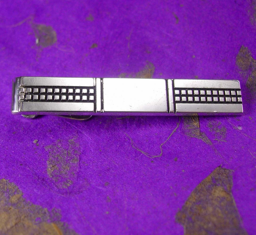SWANK Engravable wedding Tie Clip Vintage Father of the Bride Monogrammable Desi