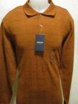 ARROW Mens Polo Style Shirt,Medium,Dark Orange/Black Plaid Long Sleeve,N... - $21.29