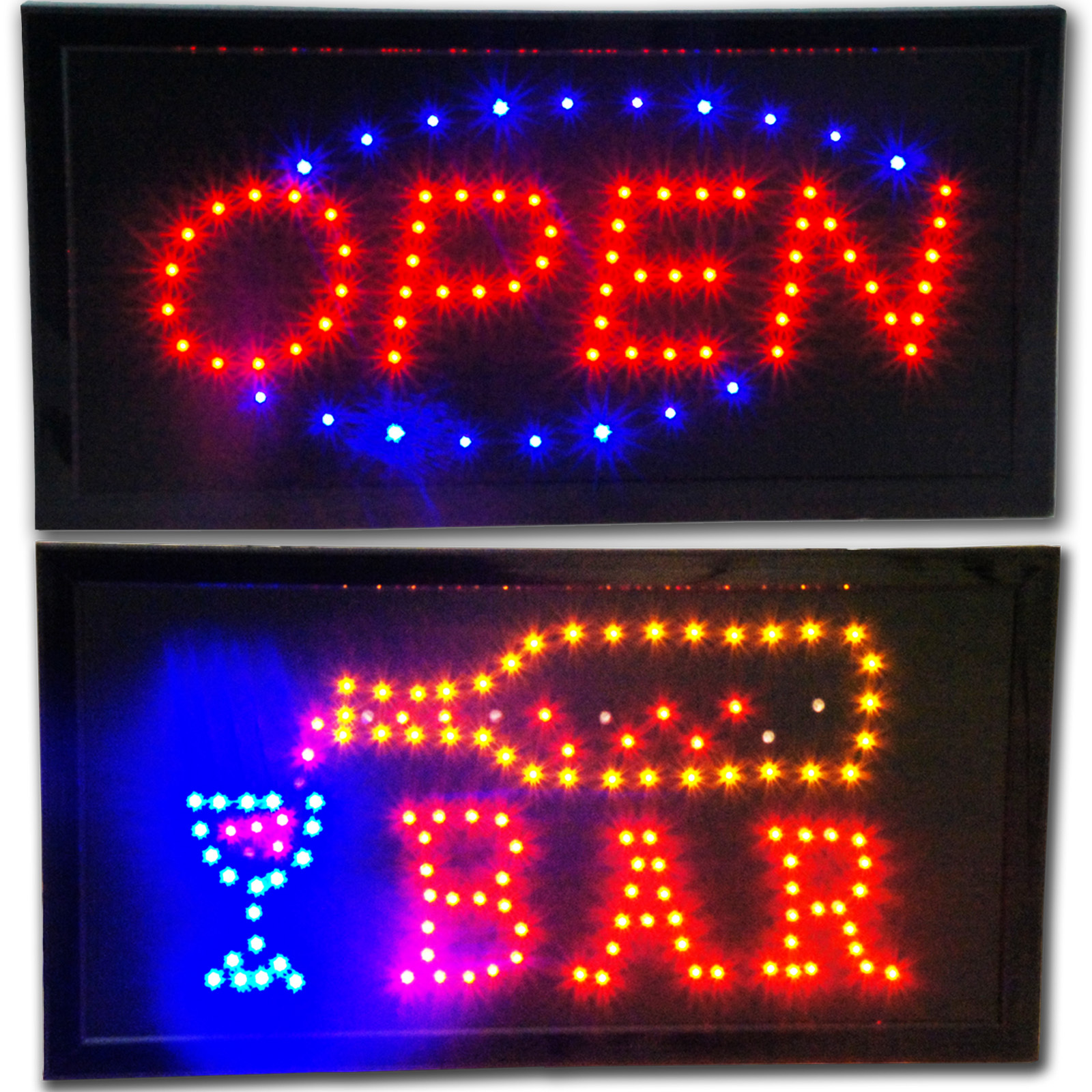 OPEN & BAR LED animated Store Sign neon bright Display beer pub restaurant shop