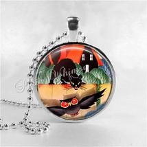 VINTAGE HALLOWEEN Necklace, Art Deco Halloween, Black Cat, Owl, Glass Ph... - $9.95