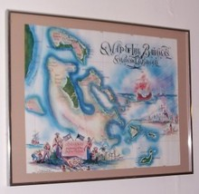 SIGNED 1980 MAP OF BAHAMAS LITHO PRINT ANGELO L. ROKER - $133.65