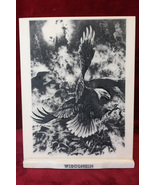 1982 Bill O'Neill Black Eagle Scene Etched on Montana Marble w/ Wisconsi... - $75.00