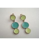 Aqua Lime Dot Enamel Earrings Green Blue Sterling Silver Unique Handmade... - $68.00