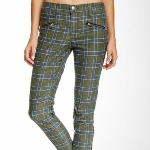 Primary image for Women's Green Current/Elliott The Soho Zip Plaid Stiletto Pant sz 29