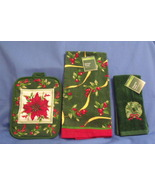 New Red and Green Potholder Kitchen Towel and Fingertip Towel  - $8.95