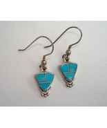 Arizona Blue Triangle Earrings Handmade Native American Inlay Sterling S... - $117.00