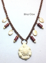 Mother Of Pearl, Porcelain & Mookite Double Link Copper Necklace - $30.99