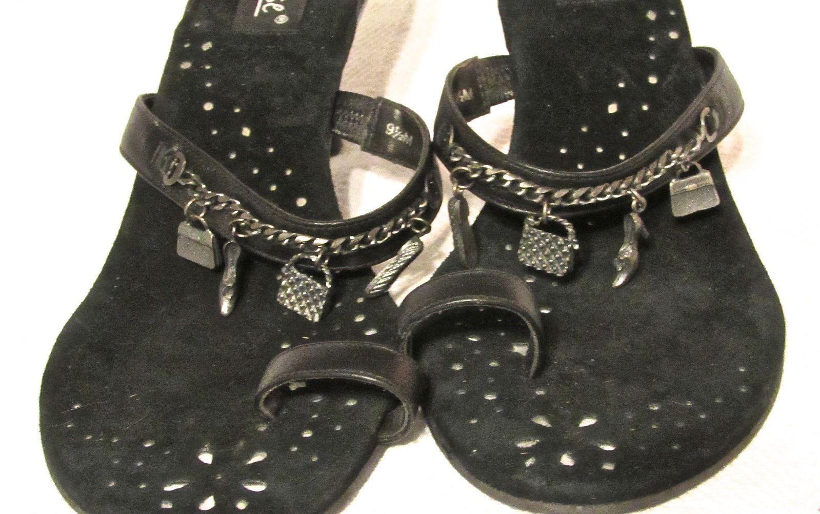 "Matisse Women's Black Leather Sandal/3"" Kitten Heel w/Embellishments S: 9.5 M"