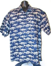 Newport Blue Men's Fish Theme 100% Cotton Button-Front Short Sleeve Shirt S: XL