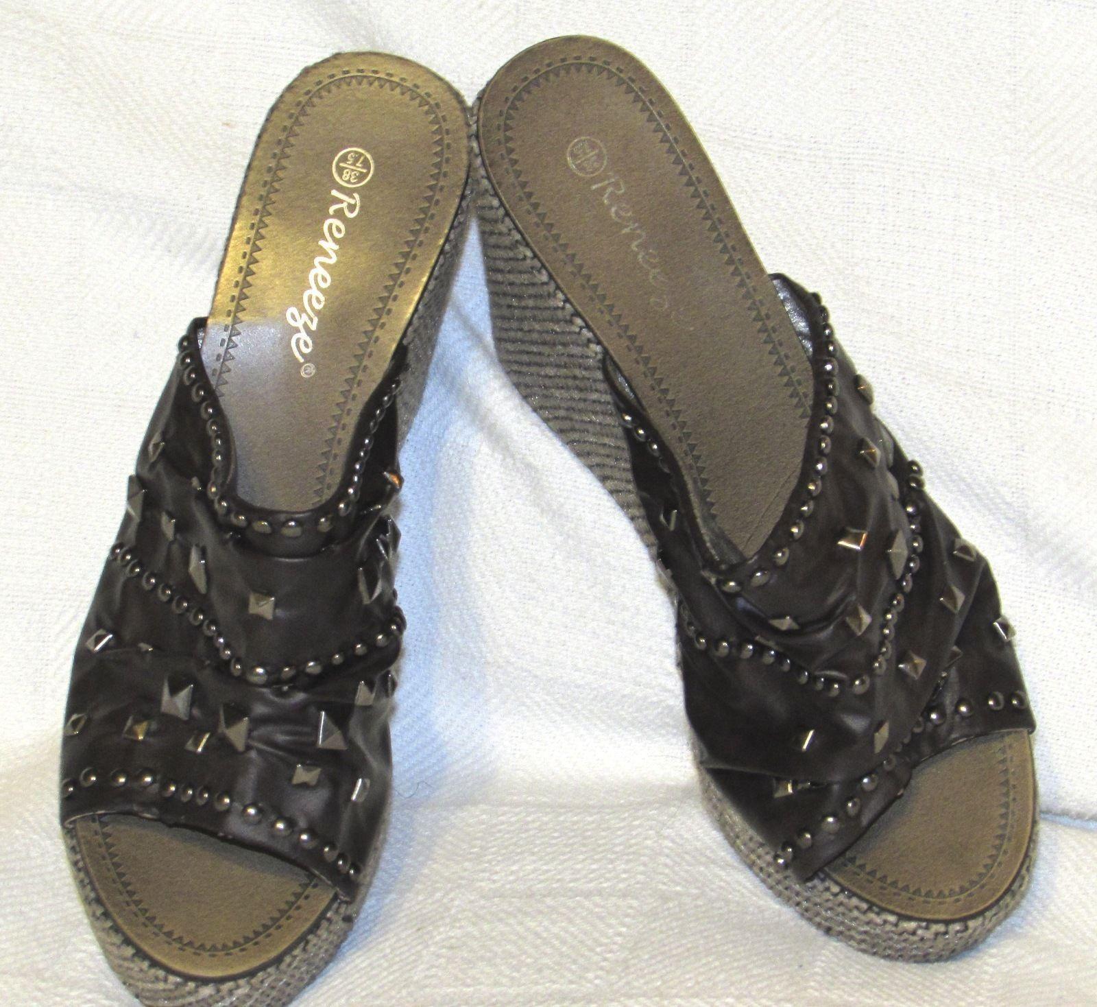 Reneeze Women's Fashion Comfort Wedge Platform Slip On Sandals Shoe S: 7.5