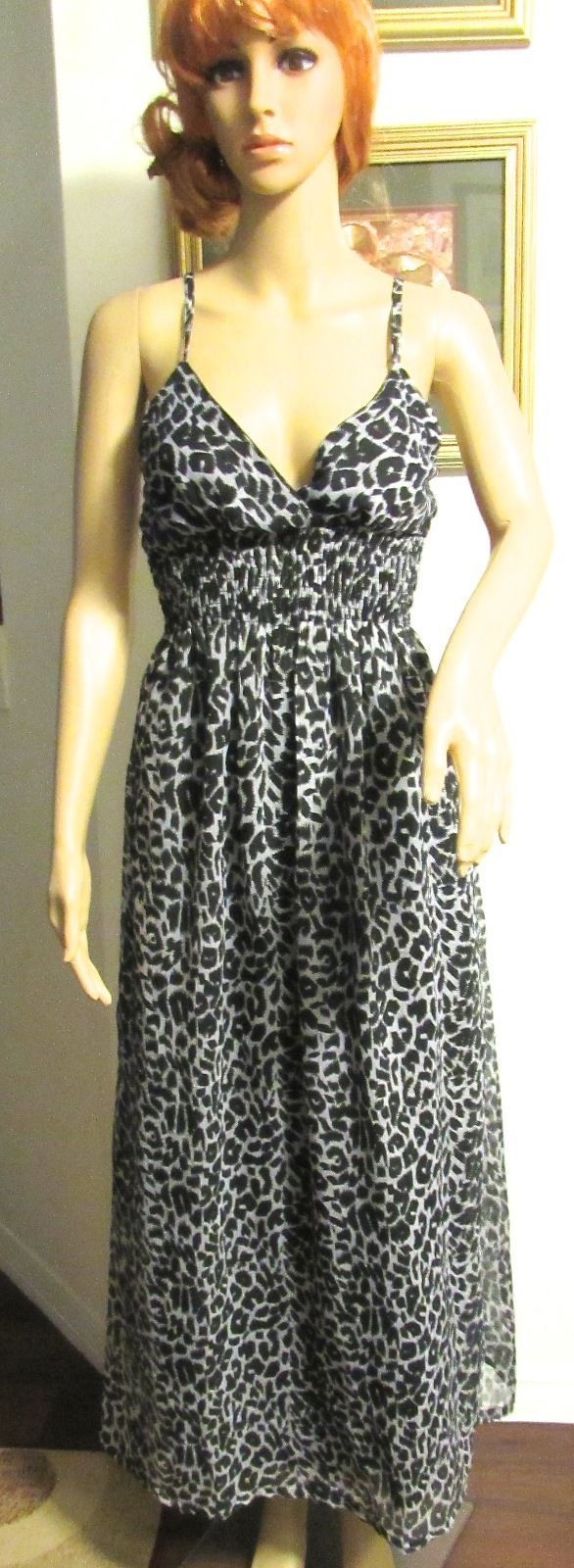 She's Cool Women's V-Neck Spaghetti Strap Animal Print Mid-Calf Dress S: M