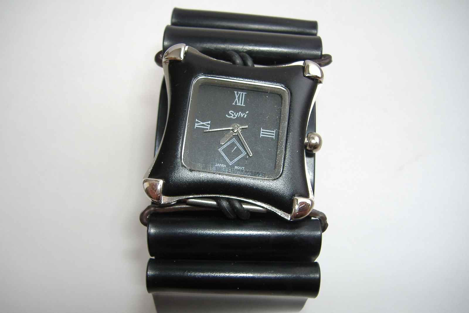 Black Silver Square Faced Wristwatch Unisex Aluminum Band Cuff Watch