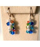 Multi Color Swarovski Crystal And Pearl Cluster... - $10.99