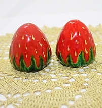 Vintage Strawberry Shaped Salt & Pepper Shakers Marked Foreign - $10.50