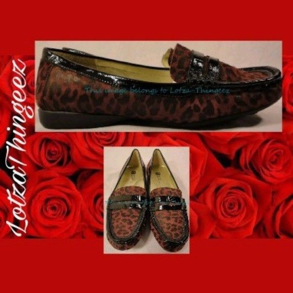 White Mountain Burgandy Purple Poolhall Leopard Suede Leather Mocassin Flats 6 M