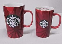 LOT of (2) STARBUCKS 2014 CHRISTMAS BLEND COFFEE MENU CUPS/MUGS MERMAID ... - $44.06