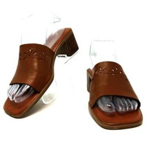 Montego Bay Club Brown Leather Block Heel Slides Sandals Shoes Womens 6.5M - $15.00