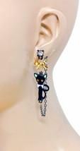 Black Enamel Cat Kitty Dangle Earrings Yellow Eyes Rhinestone Animal Lover - $10.69