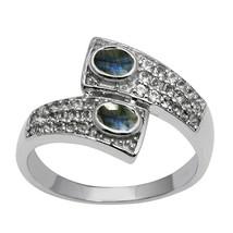 Labradorite & White Topaz Gemstone 925 Sterling Silver Bypass Wedding Ring - $19.84