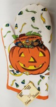 "1 Printed Kitchen OVEN MITT (12"") HALLOWEEN, PUMPKIN'S FACE, orange back... - $7.91"