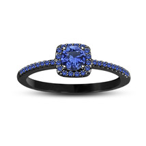 Blue Sapphire Womens Halo Engagement Ring 14k Black Gold Finish 925 Soli... - £55.74 GBP