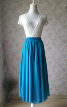 Ladies TEAL Chiffon Full long Skirt Women Maxi Skirt Custom Bridesmaid Skirt