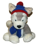 Bestever Husky Dog Blue Red Hat & Scarf Plush Lovey 12 inch Stuffed Anim... - $28.59