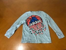Boys Kids Adidas Go-To-Tee Gray Basketball Long Sleeve Shirt Size 7 Cotton - $8.90