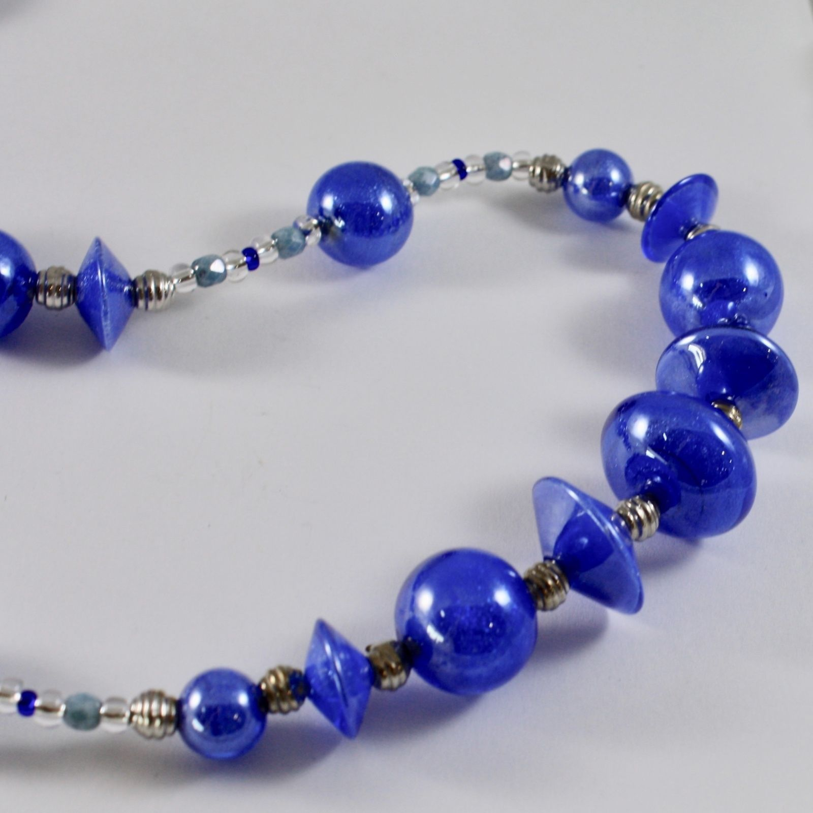 NECKLACE ANTICA MURRINA VENEZIA WITH MURANO GLASS DISCS SPHERES BLUE LONG 80 CM