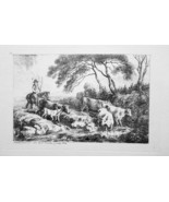 1792 ORIGINAL ETCHING Print by Howitt - Shepherd on Horse Drives Cattle ... - $17.93