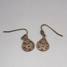 Vintage Brasstone Dangle Earrings 1980's 1990's - $9.89