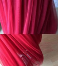 RED Full Tulle Skirts Women Tulle Maxi Skirt Red Wedding Bridesmaid Full Skirts image 8