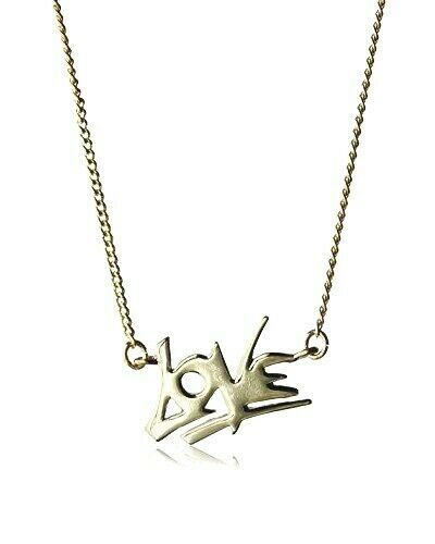 """New Fragments Shiny Gold Plated Love Pendant 16""""+2"""" Necklace Valentines NWT"""